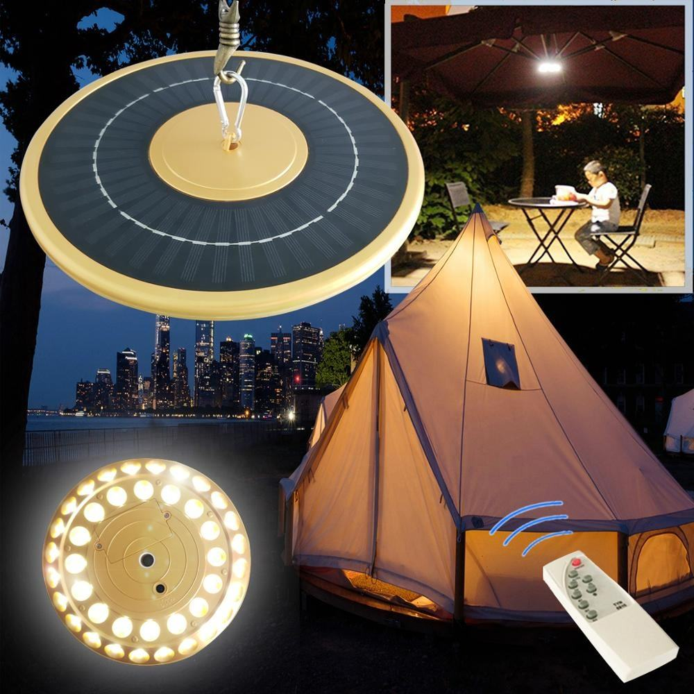 Outdoor Hanging Led Garden Lights Portable Solar Camping Tent Light with Remote Controller