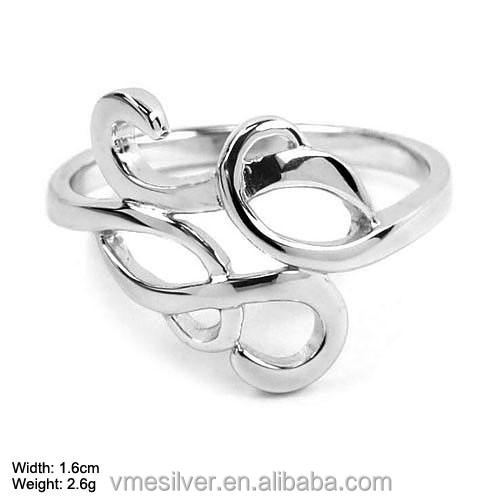 JZ-431 Wholesale New Designs 925 Sterling Silver Ring Serrings without Stones Fashion Rings for girl