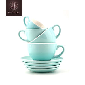 Latest hot sale wholesale assorted colors customized ceramic coffee cup set Italian Latte Cup with saucer for cafe/hotel/gift