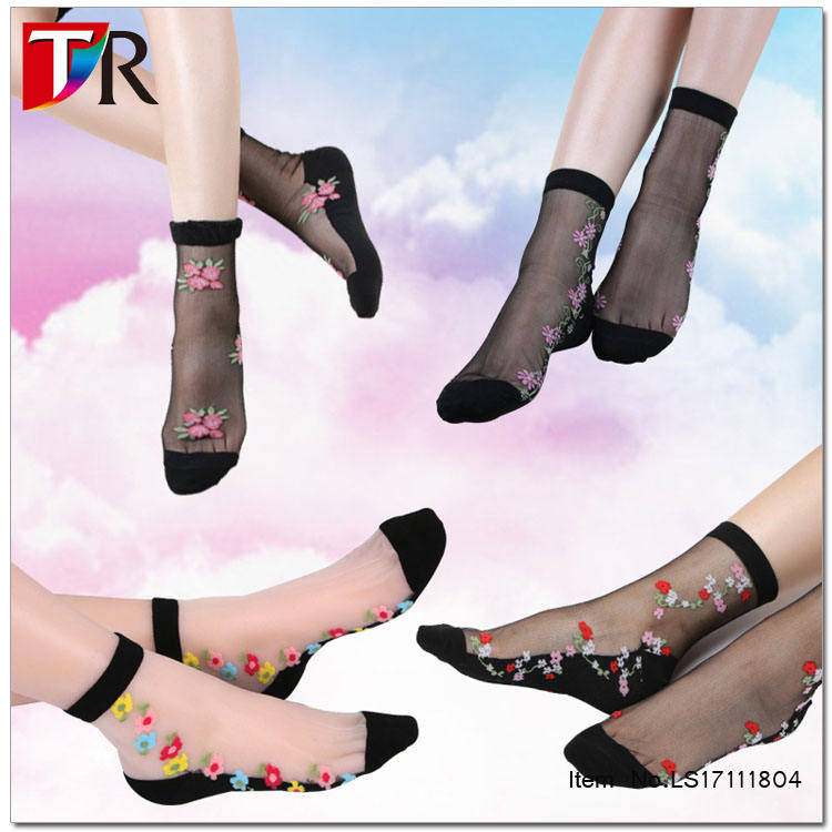 Women Fashion Transparent Socks Sheer Crystal Cute Rainbow Short Ankle Socks Plf