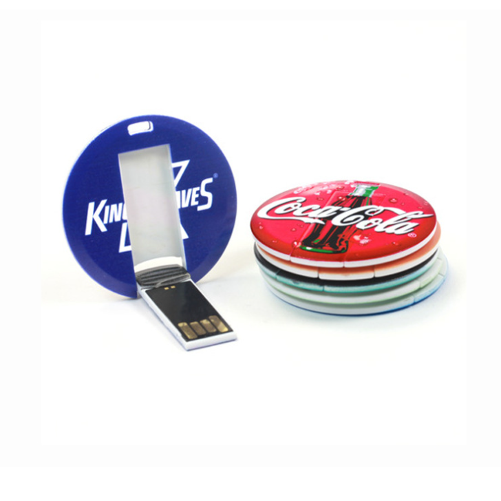 Mini figura rotonda carta di credito usb, business round card flash drive, Web key
