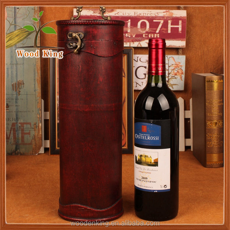Wholesale And Make To Order Print Grinding Furnishing Articles New Cylinder Packaging Mini Red Wooden Wine Box