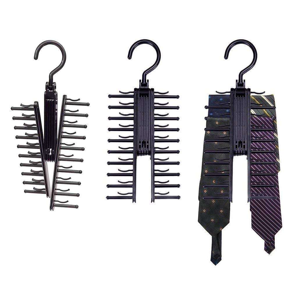 3 Piece 360 Degree Rotation Non-Slip Clips Holder, Tie Belt Rack Organizer Hanger, Cross X Tie Rack