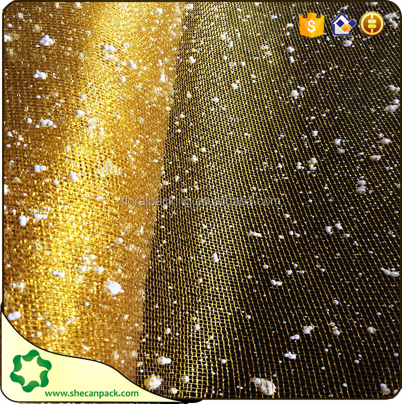 golden small snow do mesh floral wraps fabric