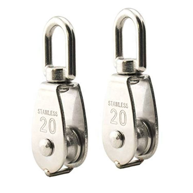 M20 High Quality rigging block ss304 or ss316 Swivel eye type single sheave stainless steel pulley