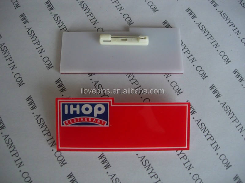 2 WHITE OVAL IHOP RESTAURANTS PERSONALIZED NAME BADGES SAFETY PIN BACK
