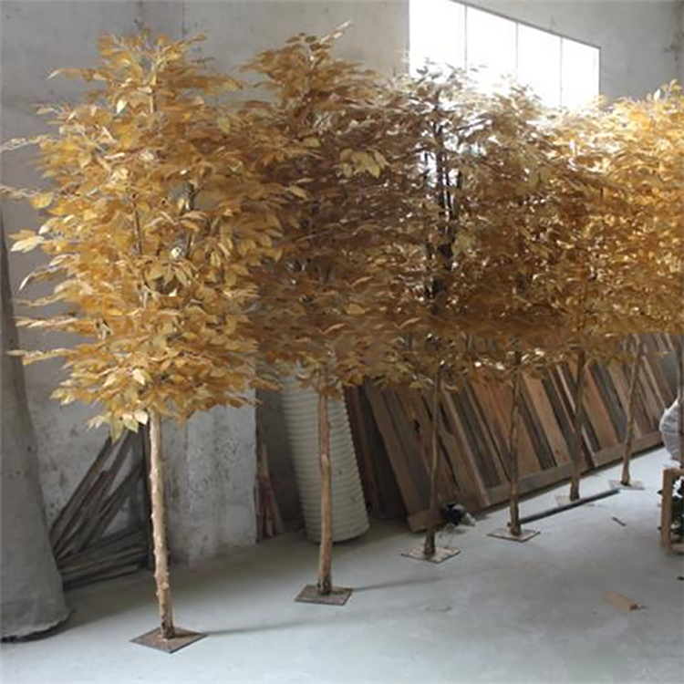 Leaves Artificial Tree Landscaping Artificial Wooden Natural Trunk Golden Leaves Banyan Trees