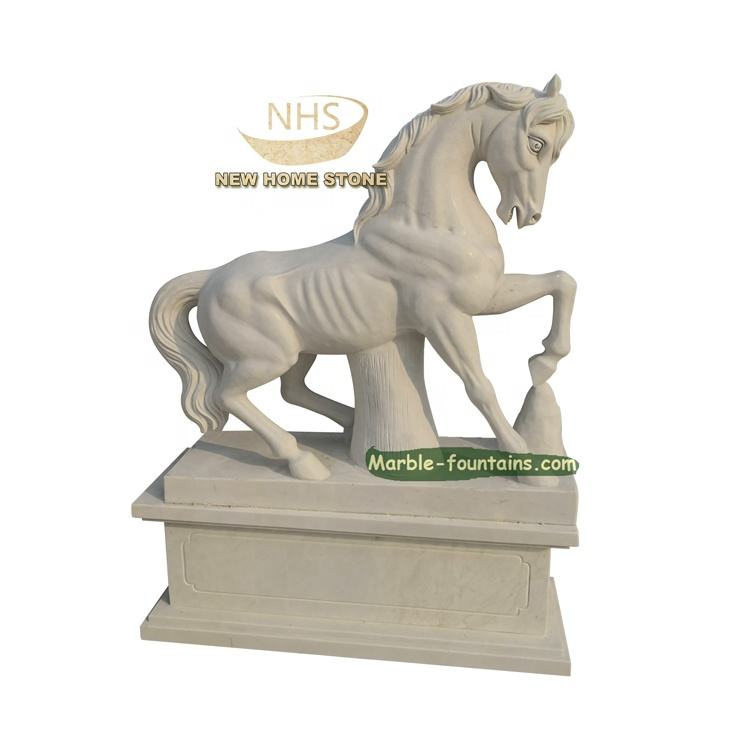 Customize Garden Natural Stone Hand Carve Life Size White Marble Horse Statue in stock
