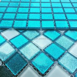 Sea blue crystal glass mosaic pool tiles