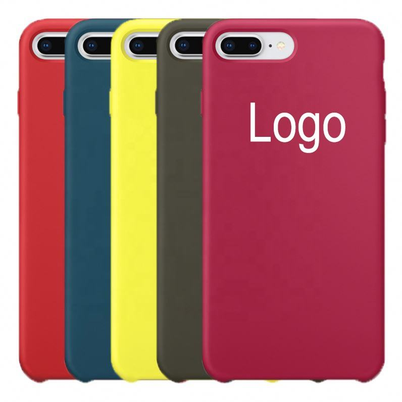 Custom logo blank microfiber lining liquid silicone mobile cell phone case for iphone 6/6 plus/7/7 plus/8/x max back cove