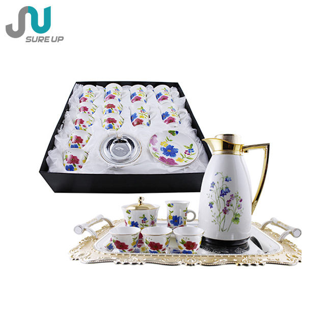 2020 Nieuwe Aankomst Product Gift Set 6Pcs Handle En Cawa Cups Arabisch Thee Set Glas Thermoskan Karaf Pot