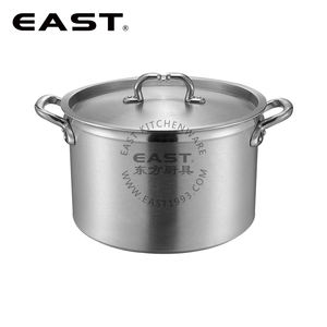 European style Aluminum cooking pot stock pot with compound bottom with hammer track short shape