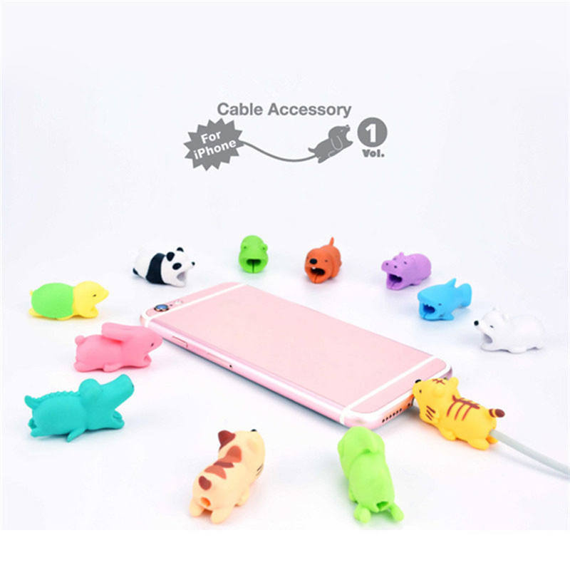 (Wholesale) Silicone Protective Cartoon Animal Cover Protector Cable Bite For USB Cable, High Quality Cute Cartoon Bite Cable