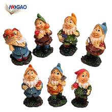 Mini gnomes fairy garden set decorations seven polyresin dwarf with mushrooms