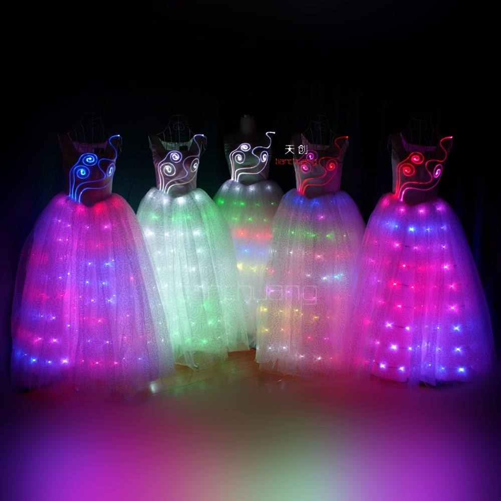 LED Dress Illuminated Butterfly Sleeve Clothes LED Light Clothing Lady Luminous Costumes Glowing Women Ballroom Dance Dress