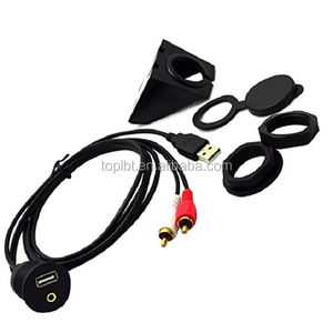 USB   3.5mm to 2 RCA and USB AUX Flush Mount Dash Extension Audio Video Cable