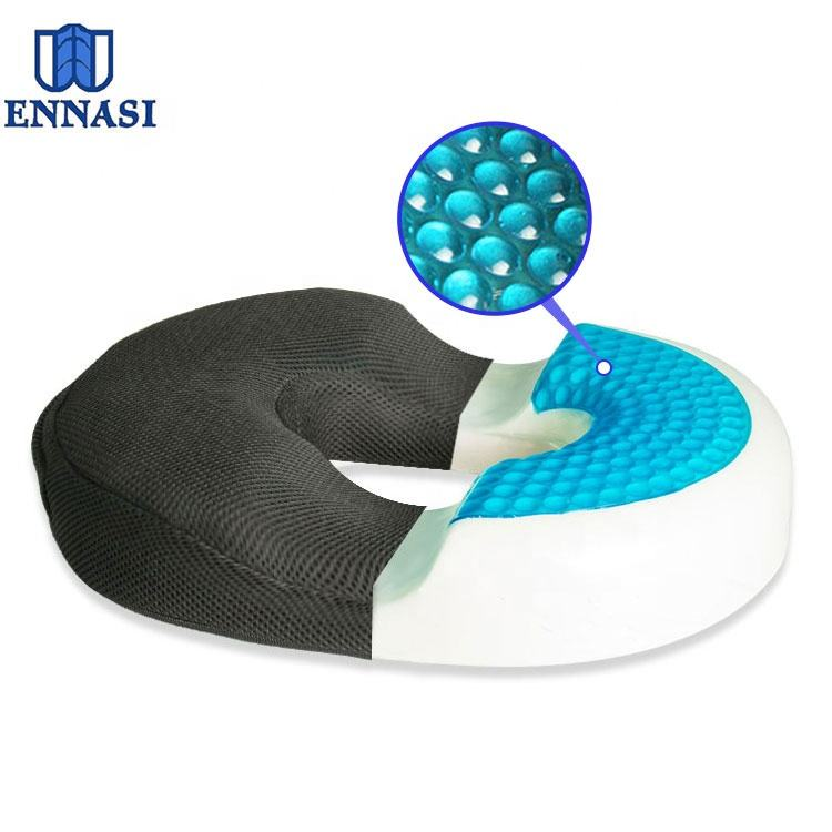 Cool Gel Memory Foam Donut Cushion Shaped Tailbone Seat Pillow for Hemmoroid Treatment Coccyx Pain Relief