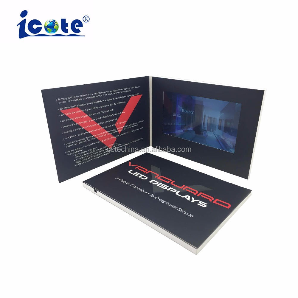 Cote A5 Card Size 7 Inch LCD Video Brochure For Company Invitation