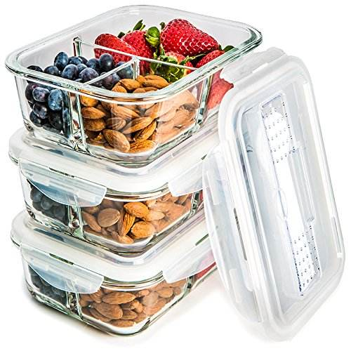 37.5oz (1060ml) Glass Food Container with High Glass Dividers 3 Compartments Lunch Box Bins Bpa Free