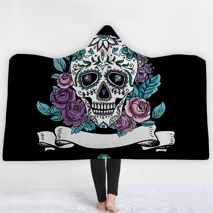 best quality customized design support skull theme soft cozy adults hooded blankets