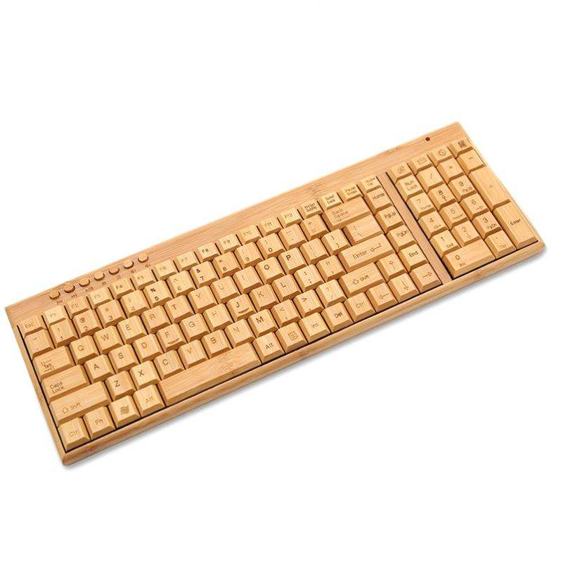 LOW MOQ Factory Custom LOGO Bamboo Wooden Laptop Eco-friendly Wireless USB Keyboard