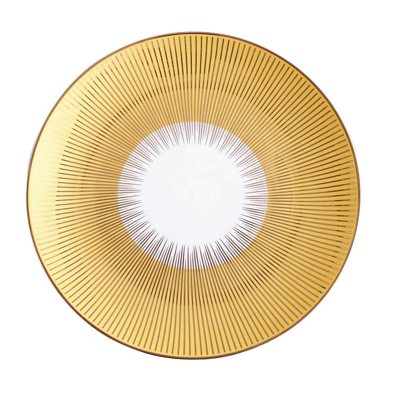Luxury gold dinner plates 10inch wedding charger plates with custom logo