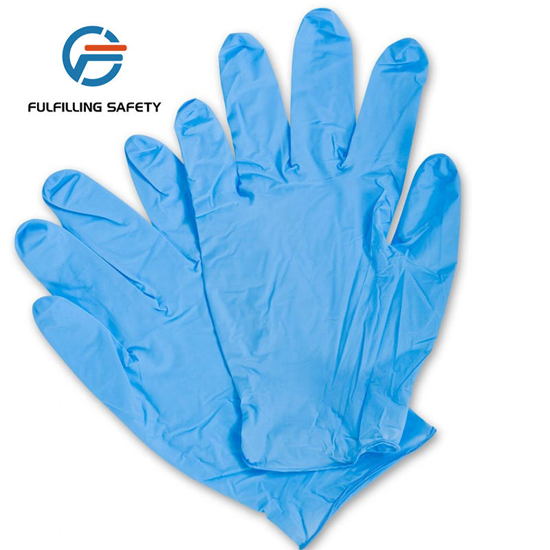 China hot selling blue powder free chemical en388 garde nitrile hand gloves