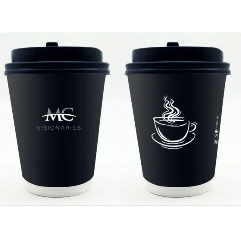 Wholesale High Quality Black Disposable Double Wall Paper Cup