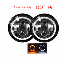 "Dot Approved E9 Daymaker 50W 30W Turn Amber Hi Lo Halo Ring 12v 24v Round DRL H4  Angle Eye 7"" Inch Led Headlight"