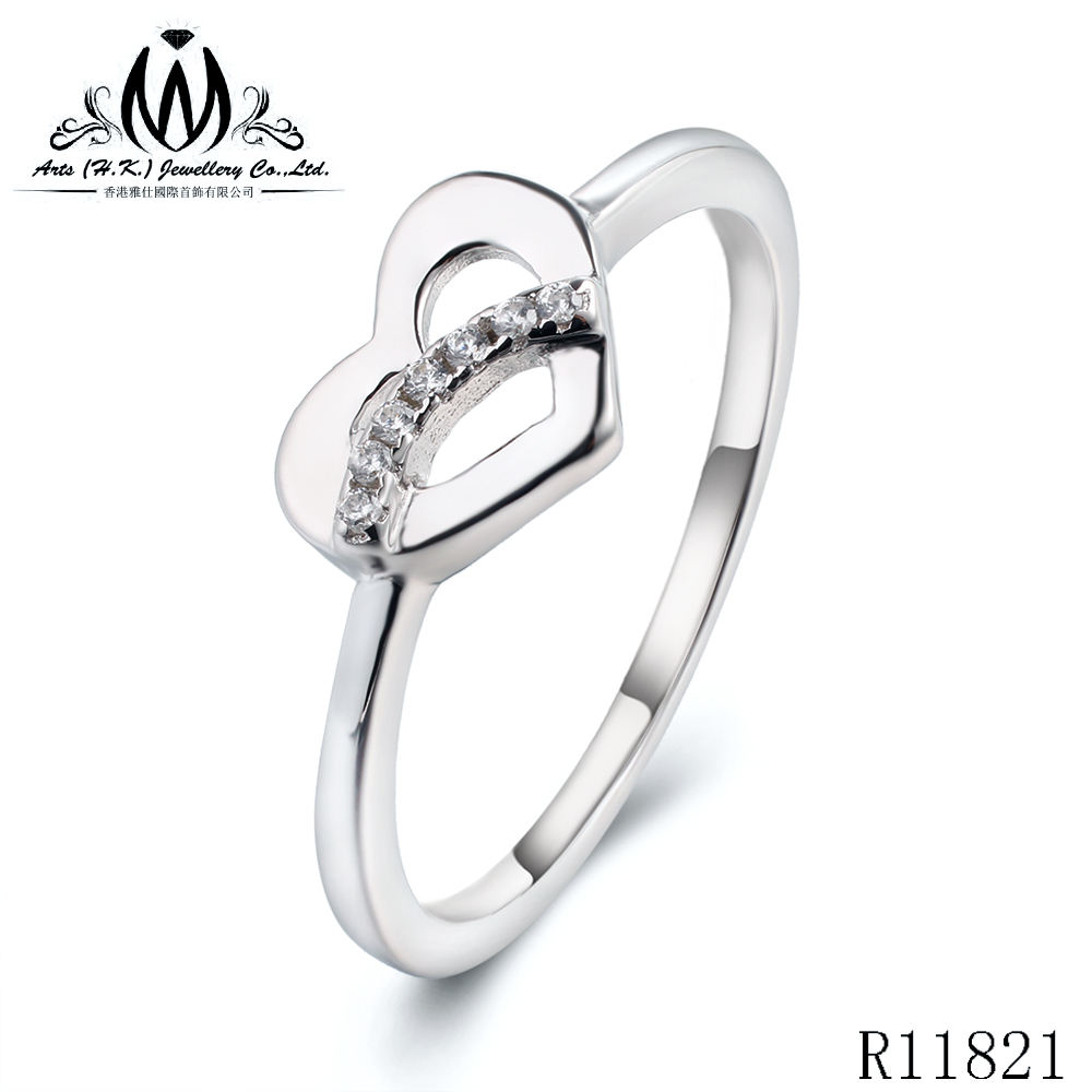 925 Sterling Silver Heart Promise 링 듐 PL Round Clear CZ 약혼 링