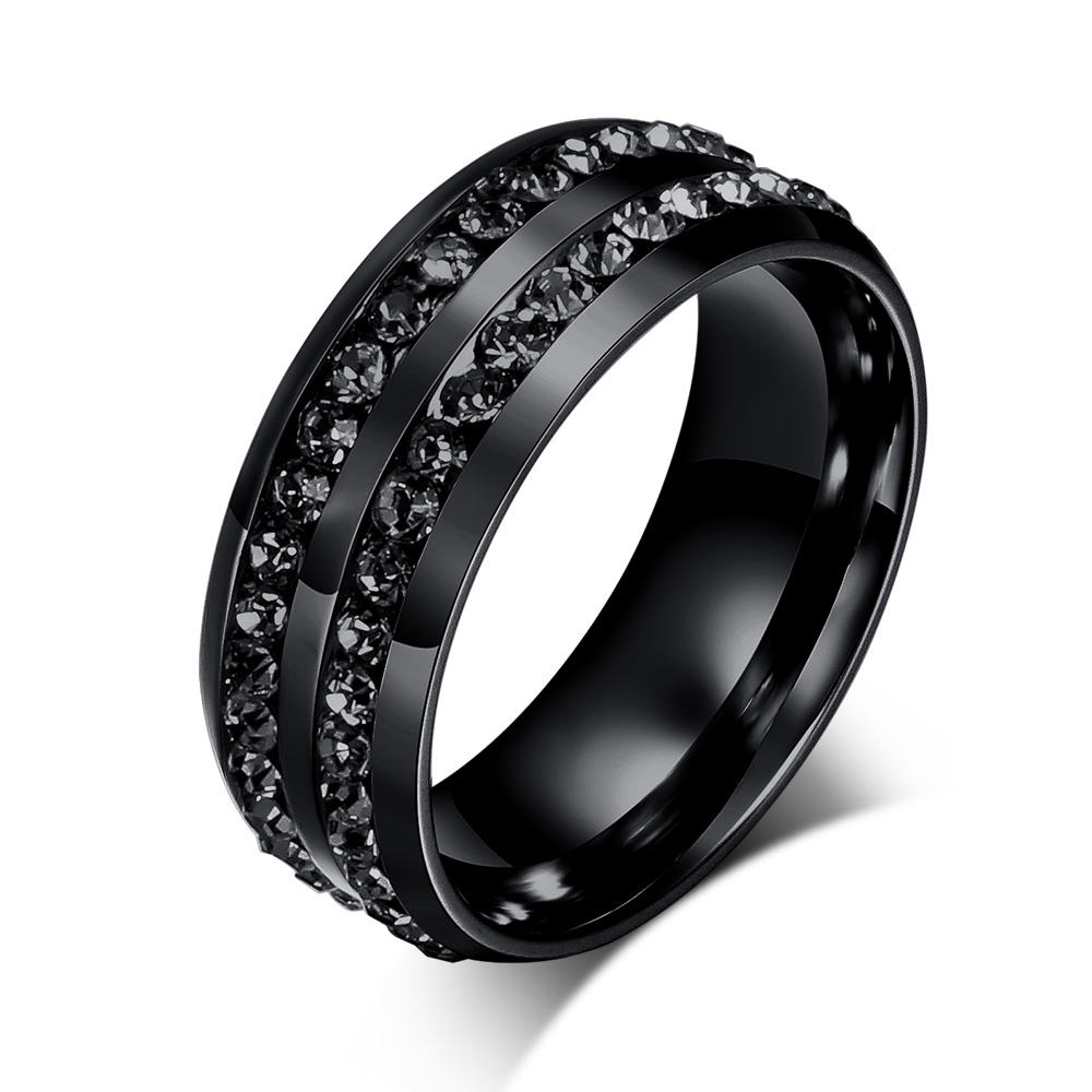Mens Wedding Bands Black Diamond Ring Jewelry Stainless Steel Fashion Rings 1-2 Days for Stock Order, 7-20 Days for Custom Order