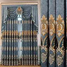 High Quality  Luxury Embroidery Window Curtains/ Made in China Luxury Embroidered Hotel Curtains and Drapes with Backing Valance