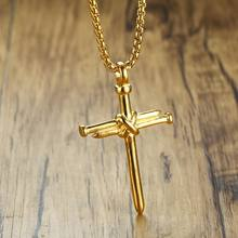 18k Gold Plated Cross Pendant Crucifix Necklace Stainless Steel Jewelry For Men