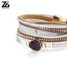 Multi-Layer Leather Bracelet - Braided Wrap Cuff Bangle Alloy Magnetic Clasp Handmade Jewelry Women