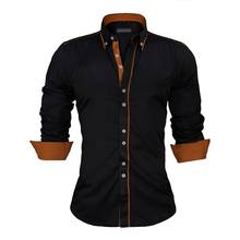 European Size Slim Fit Shirt Solid Long Sleeve Cotton Men's Shirt