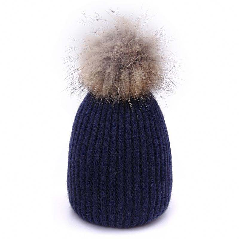High quality custom ladies winter pom poms knitted wool beanie hats