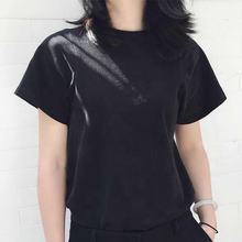 Regular O-Neck Knitted Black Modal Loose Plain Blank T-Shirt Women's
