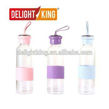 Wholesale manufacturer Reasonable Price Wide mouth glass water bottle with silicone sleeve(Blue,Orange,Rose,Grey)