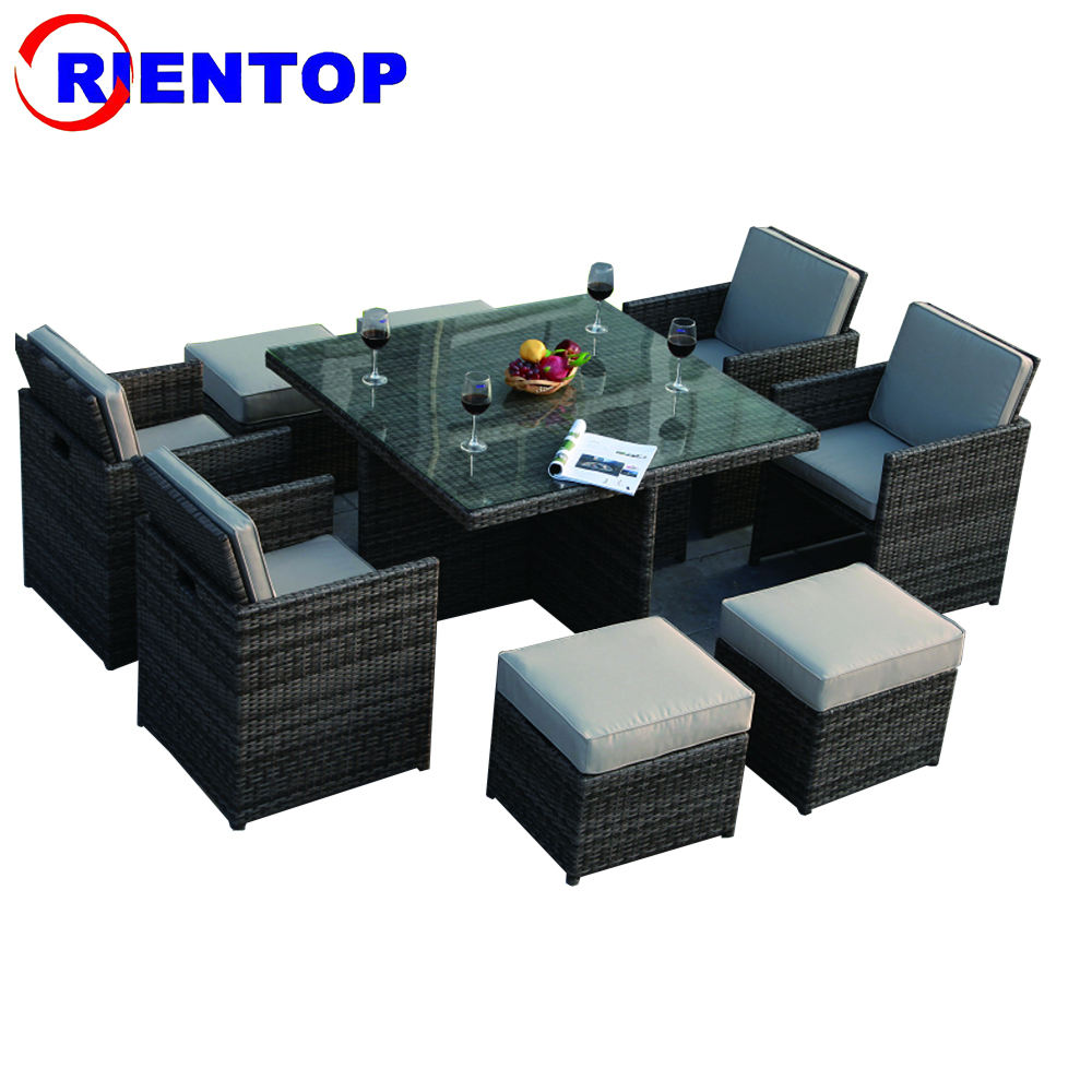 UK popular promotional outdoor garden rattan dining table set