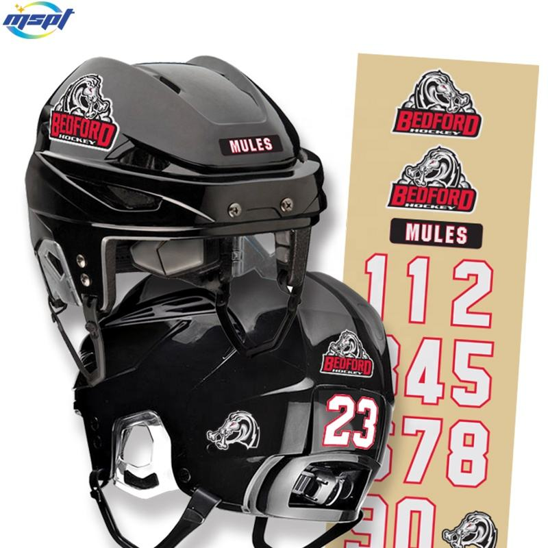 Custom High Quality Outdoor Use Waterproof Helmet Hockey Decals Vinyl Helmet Stickers Decals