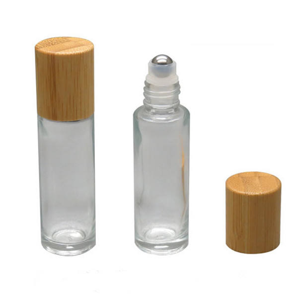 10ml Transparent Refillable Glass Essential Oil Roll on Bottle with Steel Roller Ball and Bamboo Lid