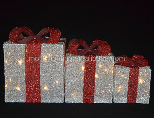 Christmas Light Up Gift Box Decoration Set Led Red Ribbons Glow