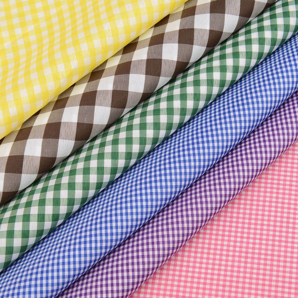 Cotton Gingham Checked School Uniform Shirt Material Fabric