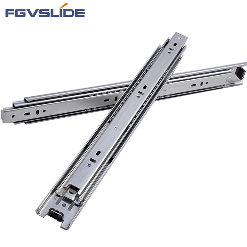 45mm Full extension 3 fold furniture hardware ball bearing telescopic channel drawer slides for kitchen cabinet