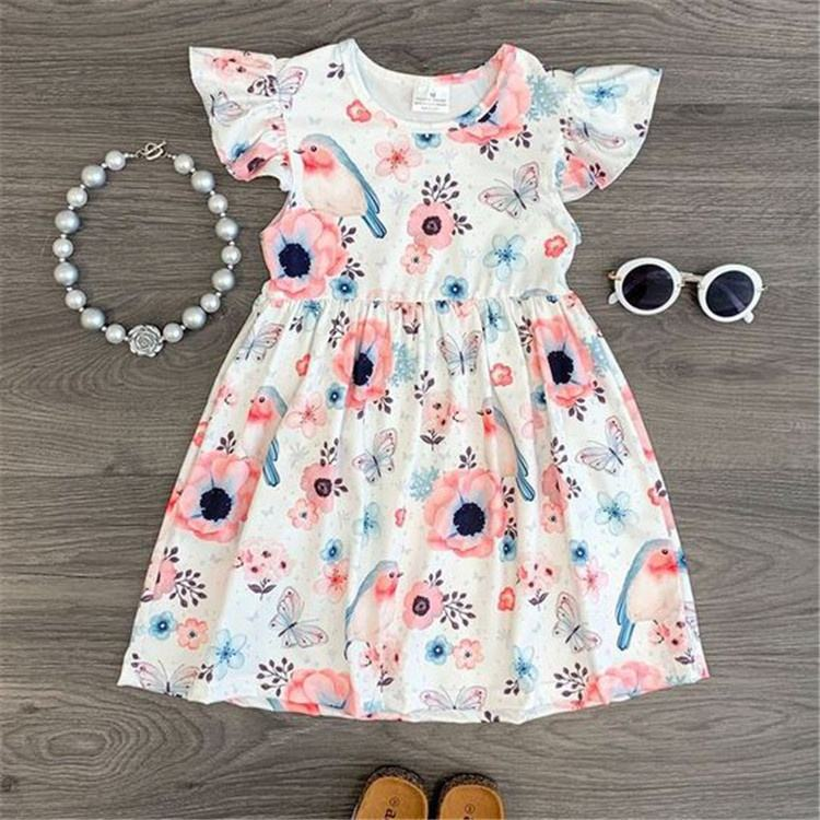 Summer newest simple watercolor floral girls dress wholesale 2 year old baby fashion girls party dresses