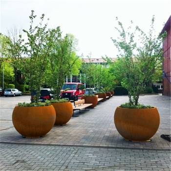 Large Decorative Corten Steel Led Flower Pots For Sale