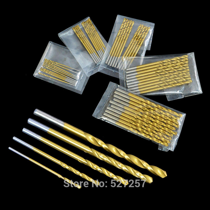 50Pcs High Speed Steel Titanium Twist Drills Kit