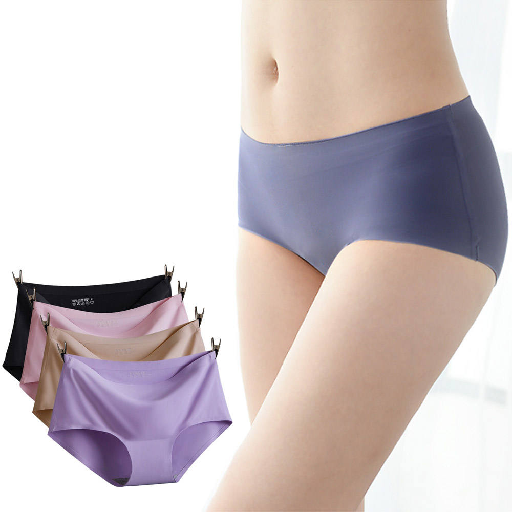Women's Nylon Brief Panties Sexy Seamless Design Ice Silk Ladies Underwear