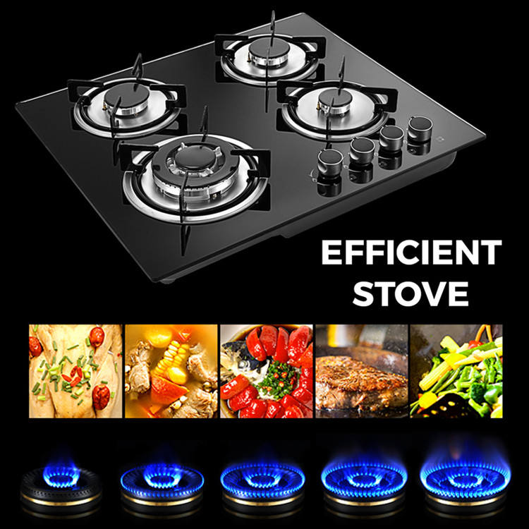 4 Burner gas cooker Tempered Glass cooktop OEM brand