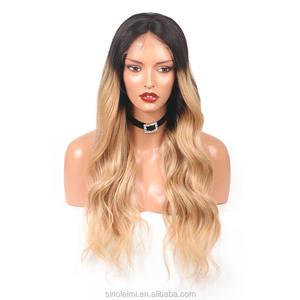 LM onda natural de alta densidade 180 peruca de cabelo humano # 1B/27 cor ombre peruca cheia do laço nós descorados